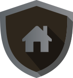 house icon inside of a gray shield