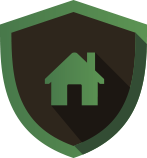house icon inside of a green shield